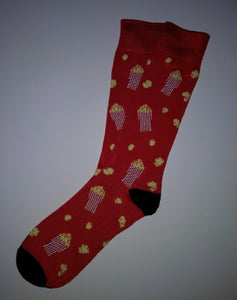 Popcorn Red Crew Socks
