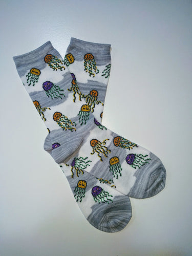 Jellyfish Grey Stripes Crew Socks
