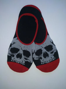 Black & Red Skull No-Show Socks