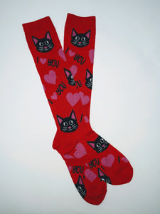 Cat I Heart You Knee High Socks