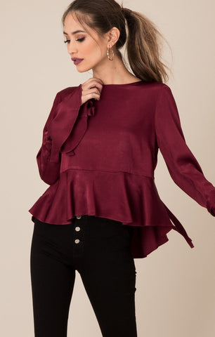 Black Swan  Cait Satin Bell Sleeve Blouse