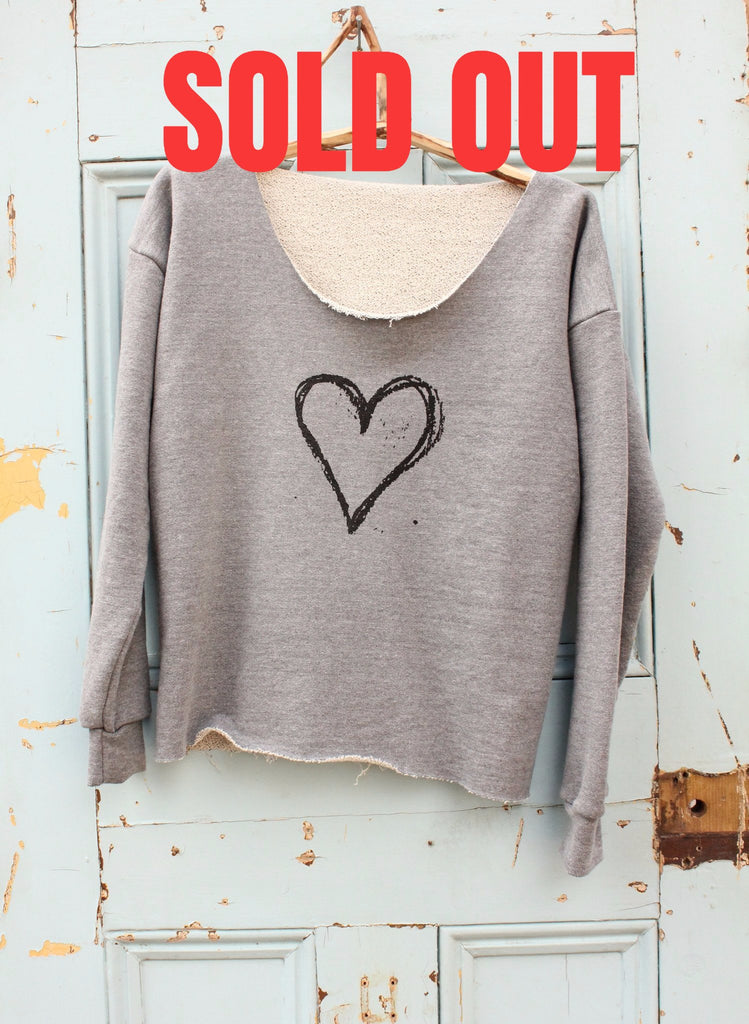 BOOM HEART ETHICAL SWEATSHIRT - ZINC