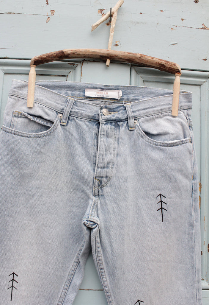 INTO THE WOODS upcycled vintage jeans