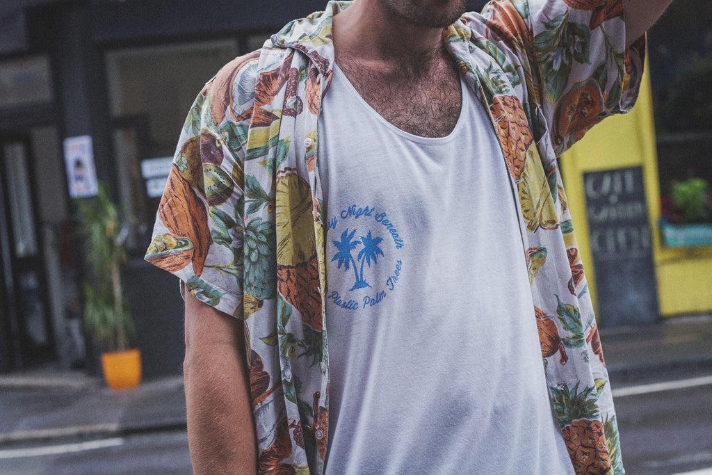 'Saturday Night Beneath The Plastic Palm Trees' Ethical vest