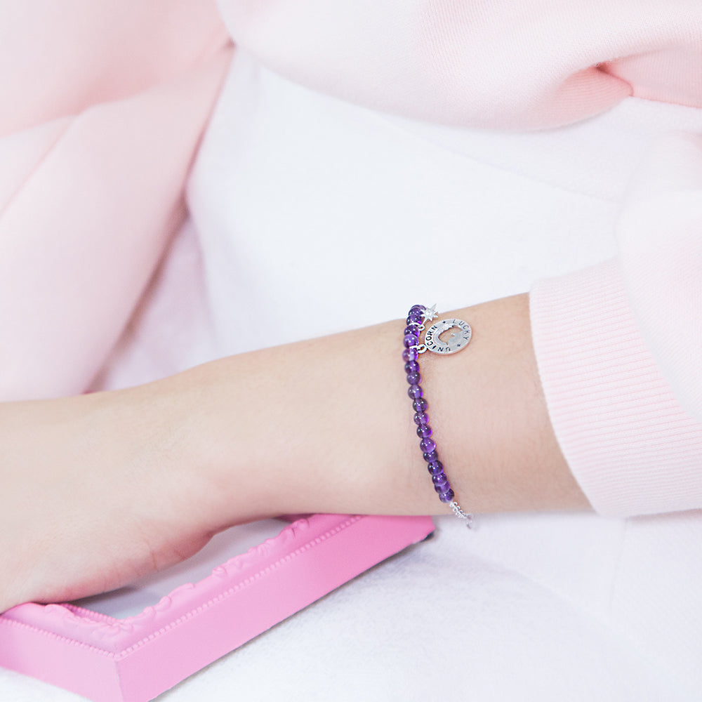 Load image into Gallery viewer, Lucky Unicorn Bracelet - Amethyst