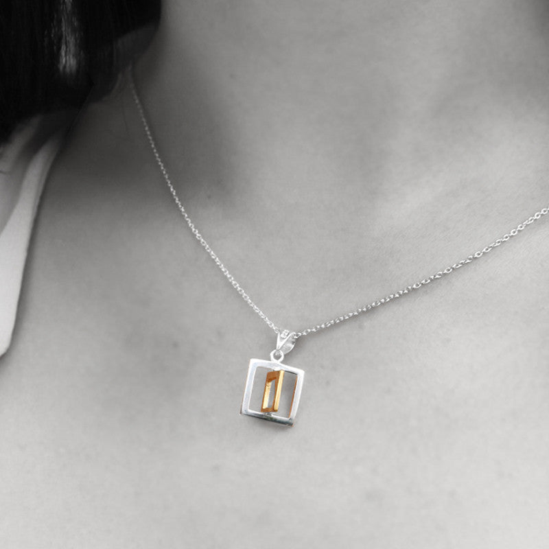The Overlapped Square Necklace - Golden (40)