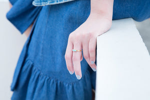 Turquoise Canvas Ring - Gold