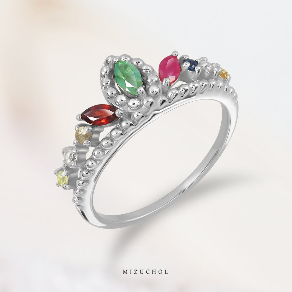 Load image into Gallery viewer, Crown of Nine Gems Ring (RD) แหวนพลอยนพเก้า