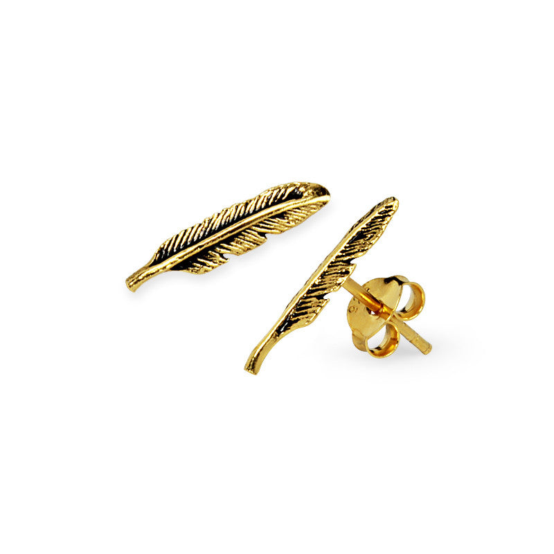 Load image into Gallery viewer, Twin Feather Earrings (Golden) - (91)