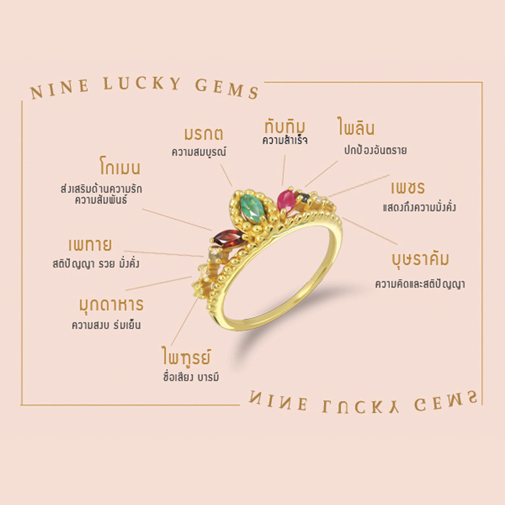 Load image into Gallery viewer, Crown of Nine Gems Ring (G) แหวนนพเก้า