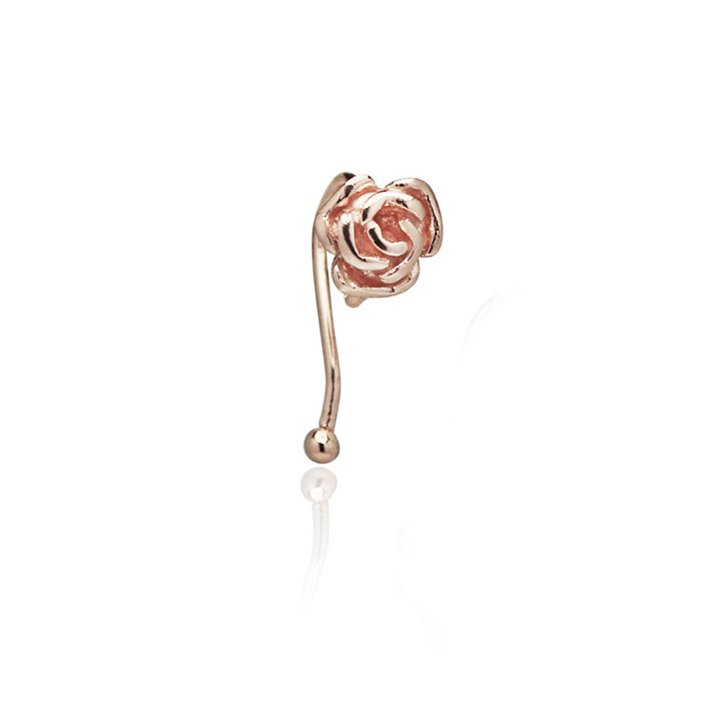 Blooming Rose Ear Cuff (Pink Gold)
