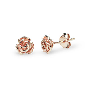Blooming Rose Stud Earrings (Rose Gold)