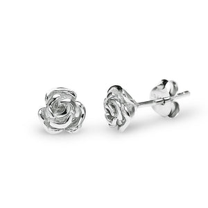 Blooming Rose Stud Earrings (Silver)