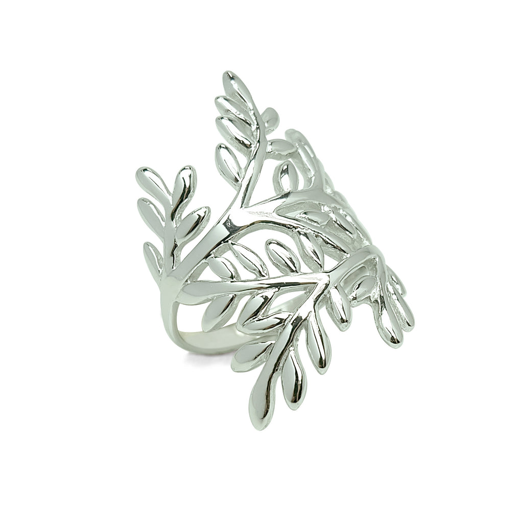 Olive Leaves Cocktail Ring