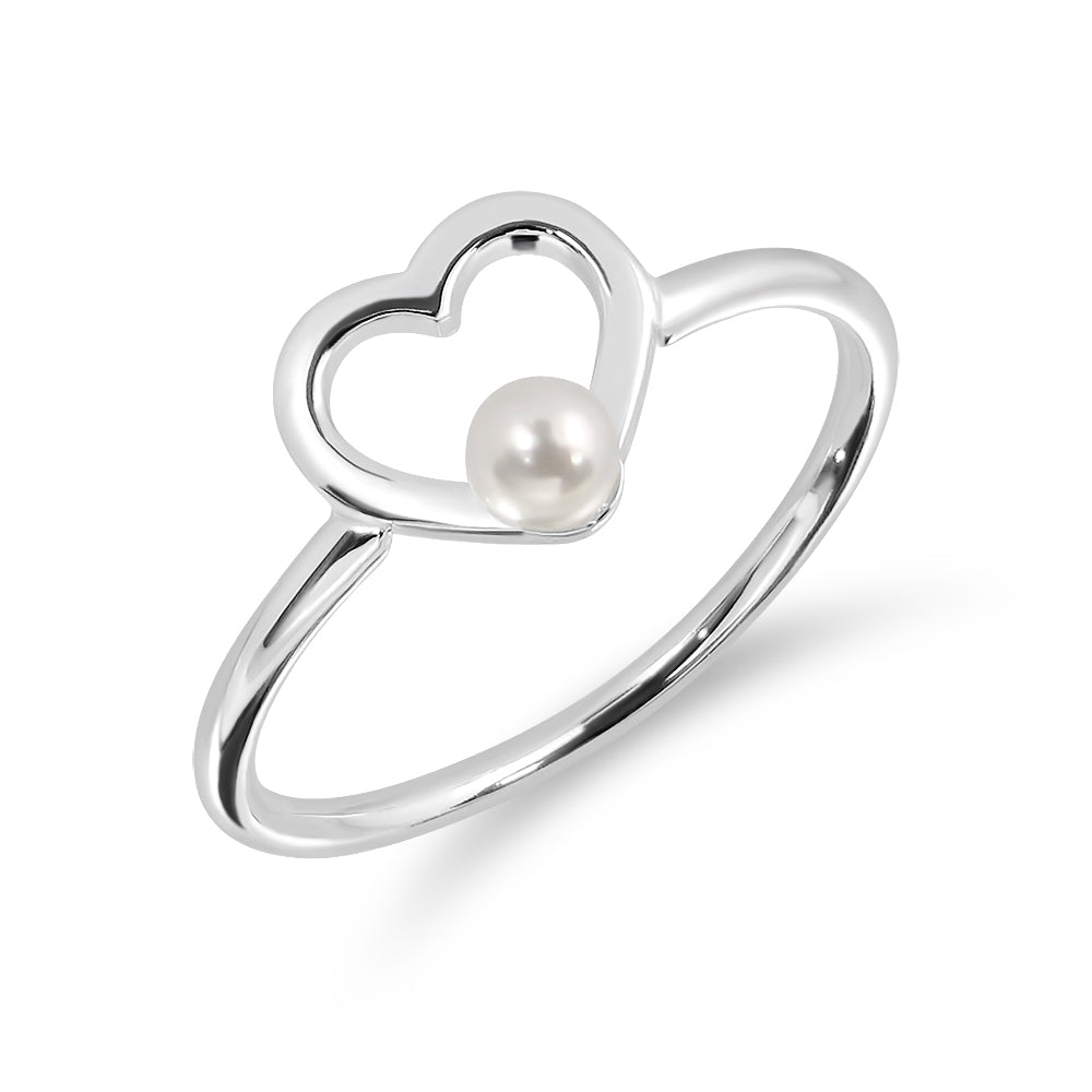 Tiny Heart Rings with Mini Pearl