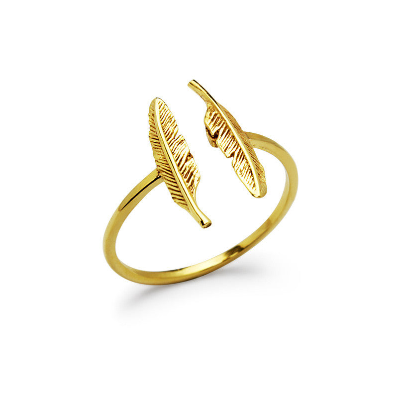 Golden Twin Feather Rings