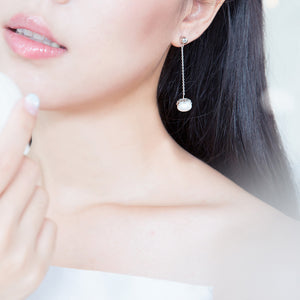 White Falling Snow Earrings