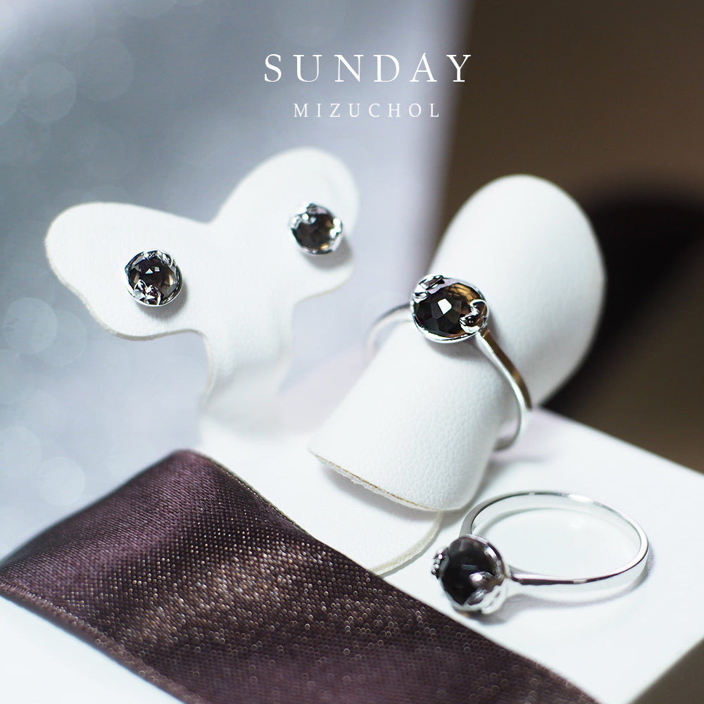 Sunday | Lucky me Ring- White Gold (Brown Smoky Quart)
