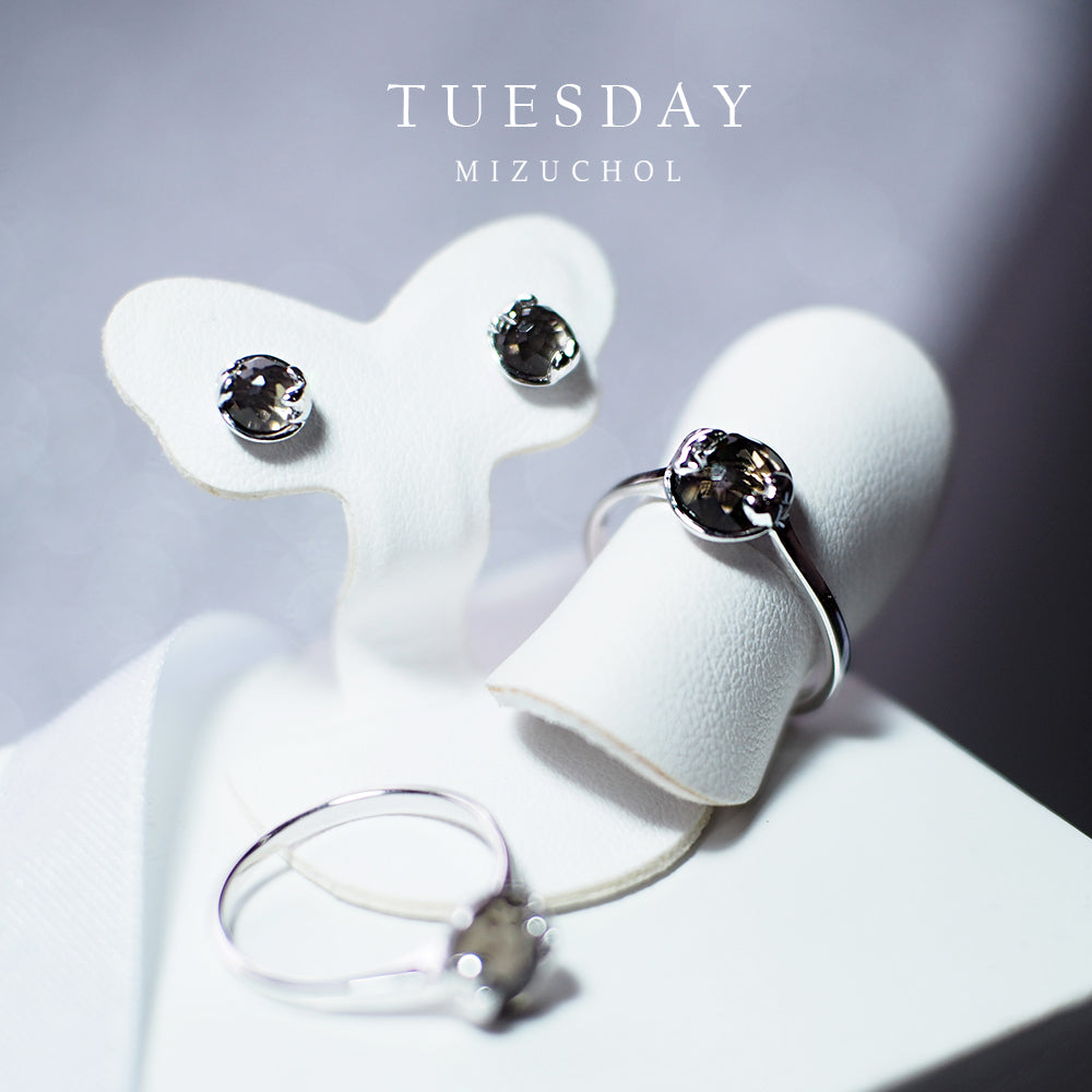 Load image into Gallery viewer, ต่างหูพลอยประจำวันเกิด (อังคาร) | Lucky Me Earrings - White Gold (Grey Smoky)