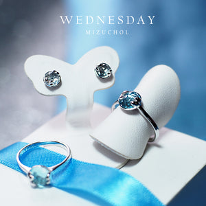Load image into Gallery viewer, ต่างหูพลอยประจำวันเกิด (พุธ) | Lucky Me Earrings - White Gold (Blue Topaz)