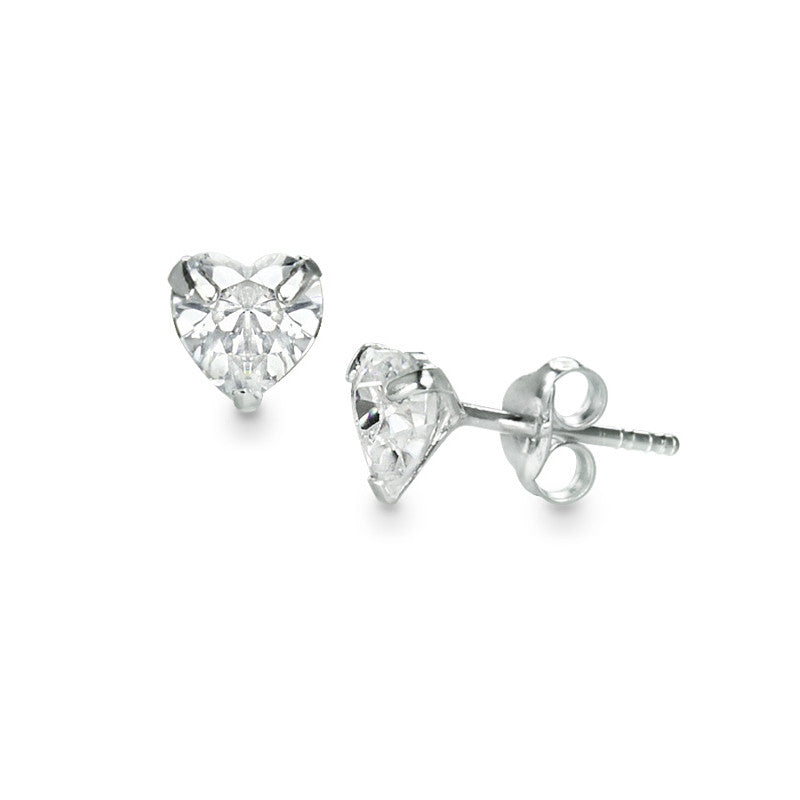 Crystal Clear Heart Earrings (K)