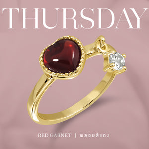 Darling Ring (Gold) Thurs - Red Garnet