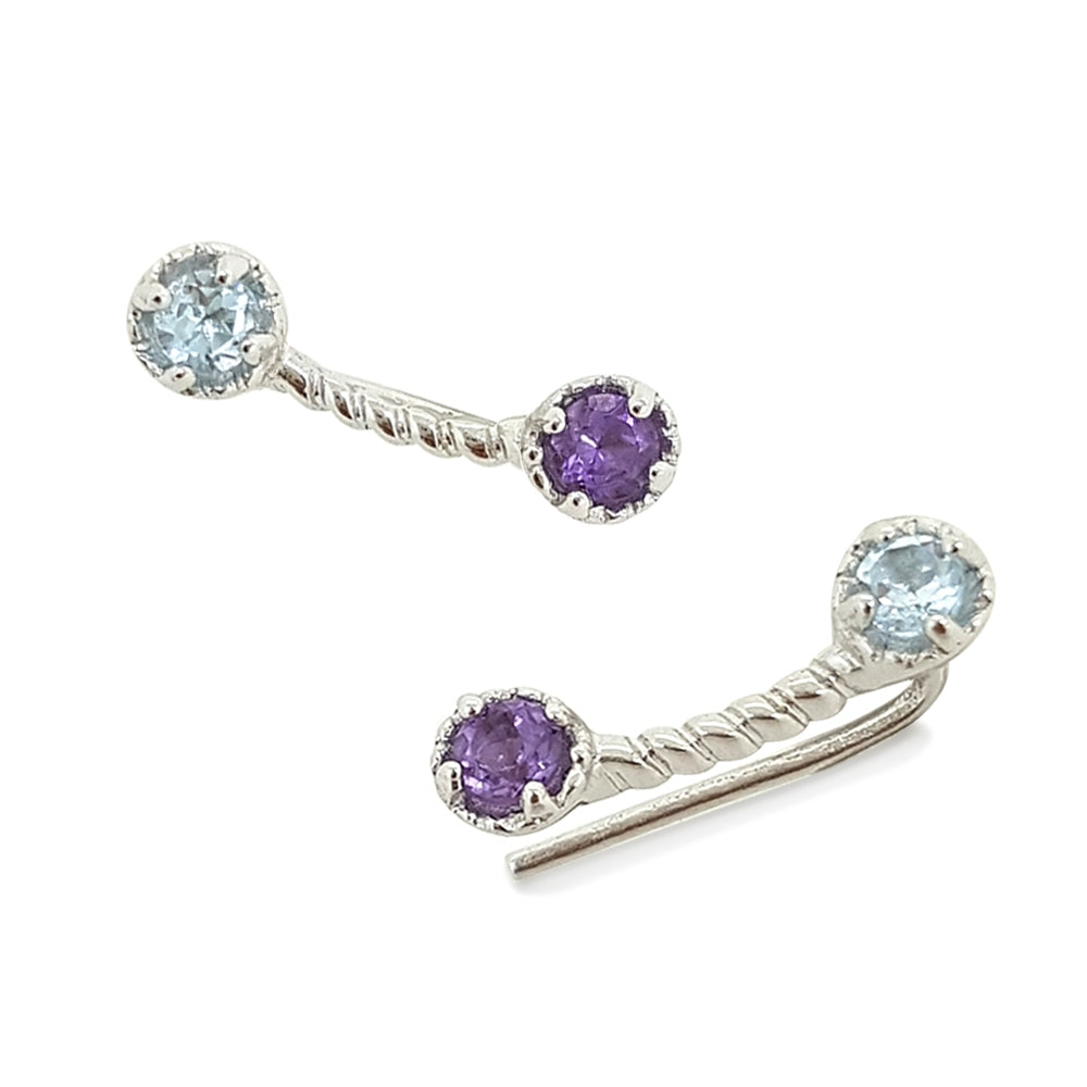 Colors Of The Unicorn Earrings with Cuff - Purple & Blue