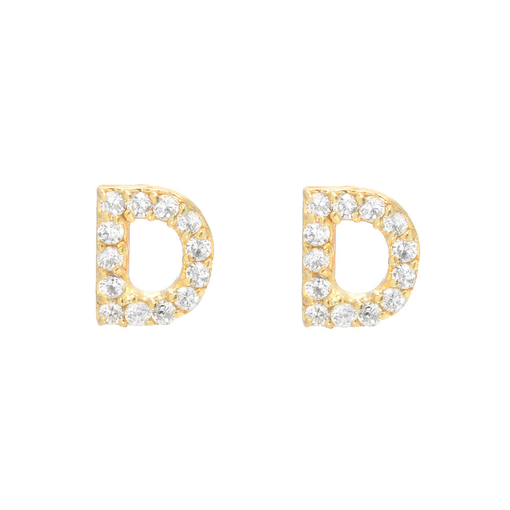Diamond And Gold Initial D Earrings