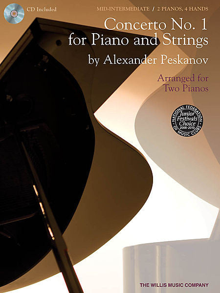 Concerto No. 1 for Piano and Strings Arranged for Two Pianos by Alexander Peskanov Mid-Intermediate Level Willis Book/CD Pack