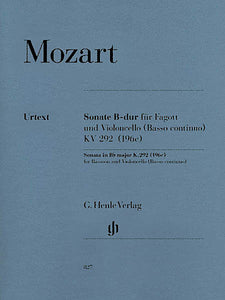 Sonata in B-flat Major, K. 292 (196c) for Bassoon & Violoncello (Basso continuo) ed. Henrik Wiese B.C. realization by Wolfgang Kostujak Henle Music Folios
