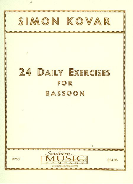 24 Twenty Four Daily Exercises For Bassoon Woodwind Solos & Ensemble/Bassoon Studies/collection Southern Music