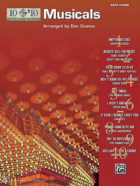 10 for 10 Sheet Music: Musicals arr. Dan Coates, Easy Piano