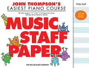 John Thompson's Easiest Piano Course Music Staff Paper Wide Staff