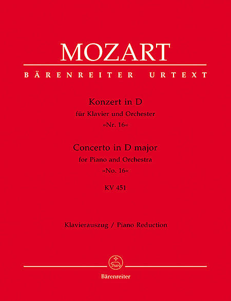 Concerto for Piano and Orchestra No. 16 D major KV 451 - Mozart, Wolfgang Amadeus