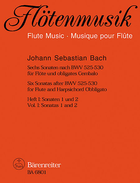 Six Sonatas after BWV 525-530 for Flute and Harpsichord obbligato - Bach, Johann Sebastian