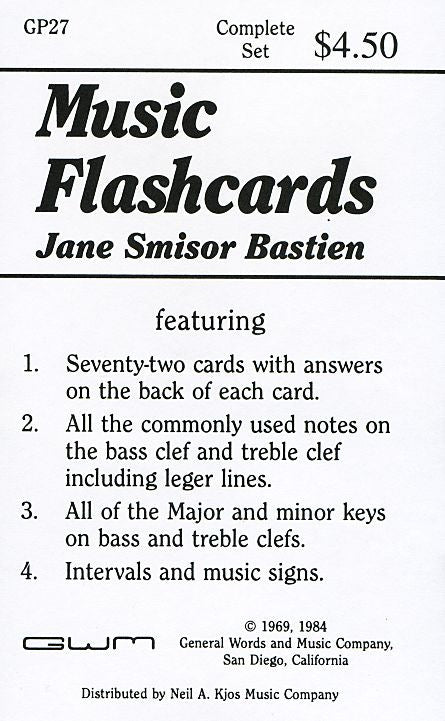 Bastien Music Flash Cards - Jane Bastien