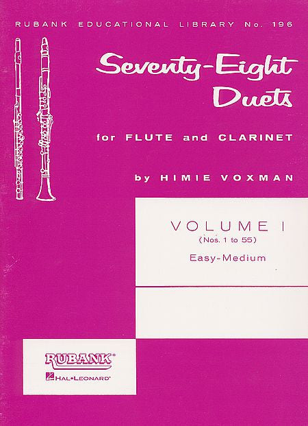 78 Duets for Flute and Clarinet Volume 1 - Easy to Medium (No. 1-55) edited by H. Voxman Ensemble Collection Easy to Medium