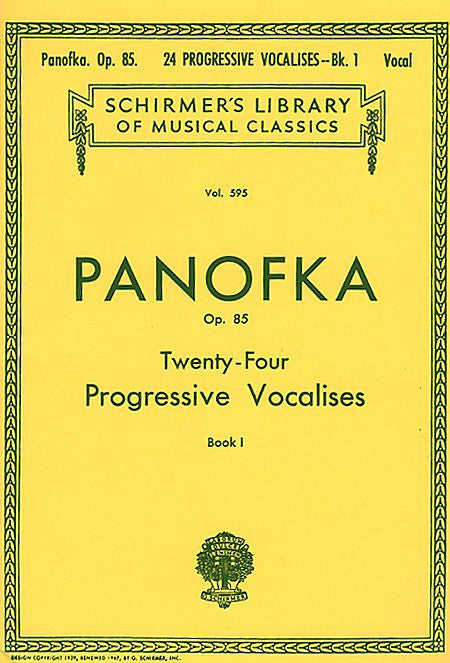 24 Progressive Vocalises, Op. 85 - Book 1 Voice Technique Vocal Method Voice Technique