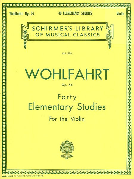 40 Elementary Studies, Op. 54 Violin Method String Solo