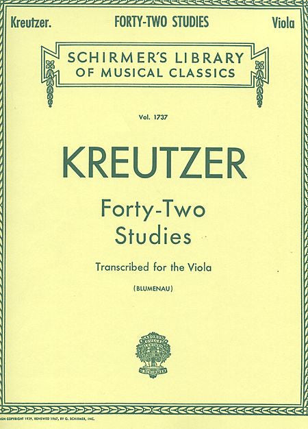 42 Studies Transcribed for the Viola by Rodolphe Kreutzer transcribed by Walter Blumenau