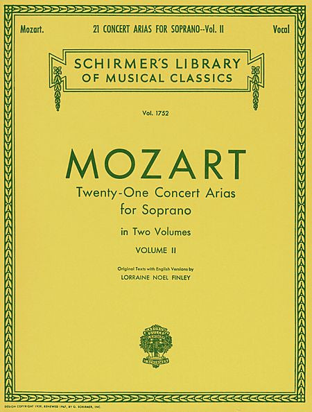 21 Concert Arias for Soprano - Volume II Voice and Piano (Finley) Vocal Collection