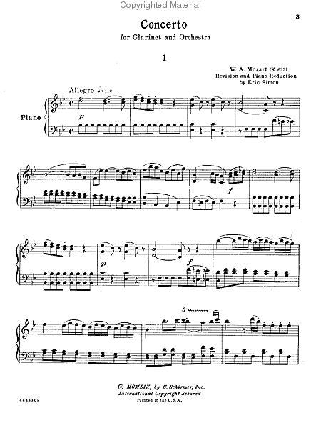 Clarinet Concerto In Bb Major K 622 Arranged By Eric Simon Woodwind Solo