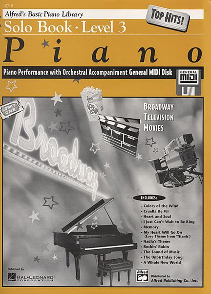 Alfred's Basic Piano Course: GM Disk -- Top Hits! Solo Book, Level 3