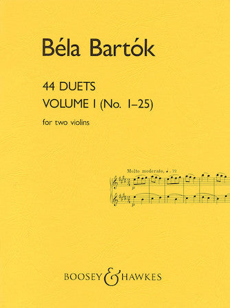 Bartok - 44 Duets Volume 1 (No. 1-25) - Violin Ensemble Duet: Two (2) Violins - Score Only