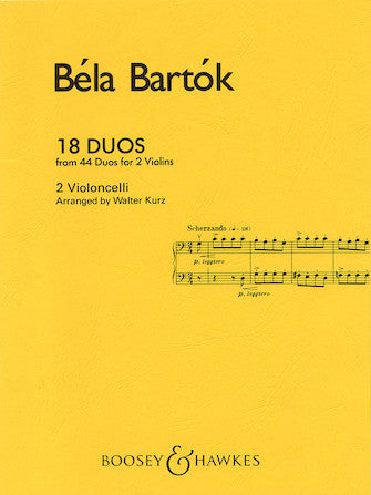 Bartok, Bela - Eighteen (18) Duos (from 44 Duos for 2 Violins) arr. Walter Kurz - Violoncello [Cello] Ensemble Duet: Two (2) Cellos - Score Only