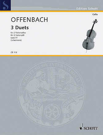Offenbach, Jacques - Three (3) Duos, Opus 51ed. Walter Lebermann - Violoncello Ensemble Duet: Two (2) Cellos - Parts Only