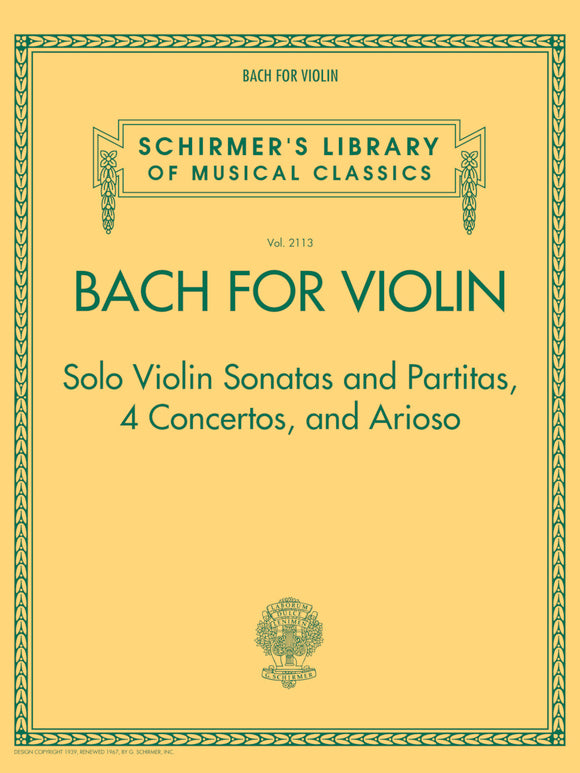 Bach - For Violin - Contains: Sonatas and Partitas (Solo Violin), 4 Concertos, and Arioso - Violin & Piano