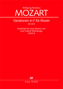 Mozart - Theme & Variations in F major on the song ''Ein Weib ist das herrlichste Ding'' Kv 613 arr. Josef Gabriel Rheinberger (WoO 6) - Piano Ensemble (2 Pianos 4 Hands)