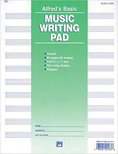 10 Stave Music Writing Pad (8 1/2