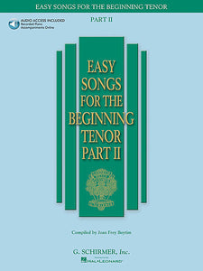 Easy Songs for the Beginning Tenor - Part II with a companion CD of accompaniments compiled by Joan Frey Boytim Vocal Collection Tenor